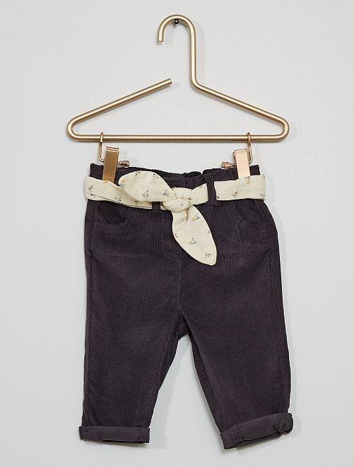 Pantalon velours + ceinture                     gris anthracite