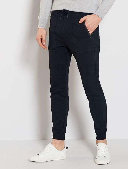 Pantaon de jogging en maille piquée                             noir