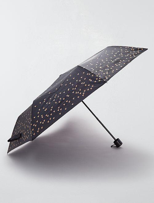 Parapluie pliant imprimé 'cœur'                                                                                                                                         noir/doré