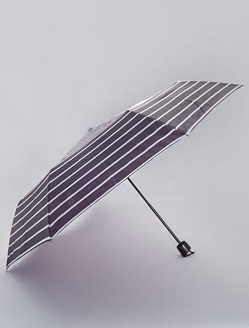 Parapluie pliant imprimé 'rayures'                                                                                                                             noir à rayures