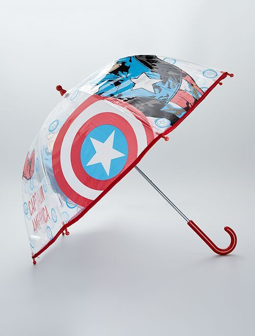 Parapluie transparent 'Captain America'                             rouge/bleu