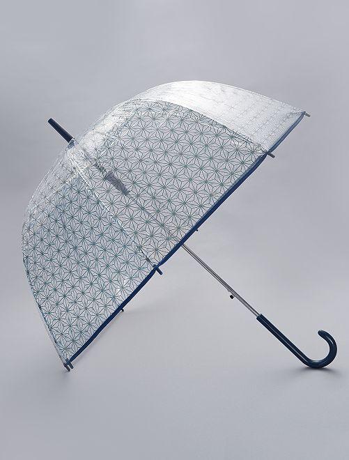 Parapluie transparent imprimé                                                                 bleu