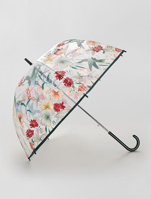 Parapluie transparent imprimé                                                                 imprimé fleurs