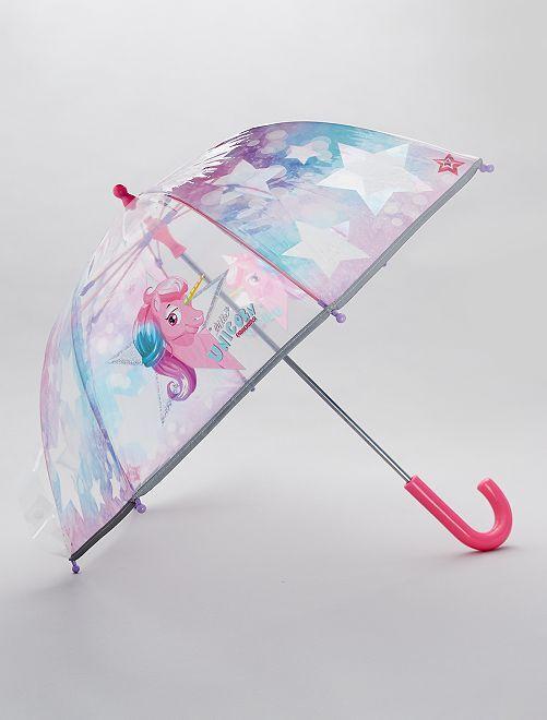 Parapluie transparent imprimé 'licorne'                             bleu/rose