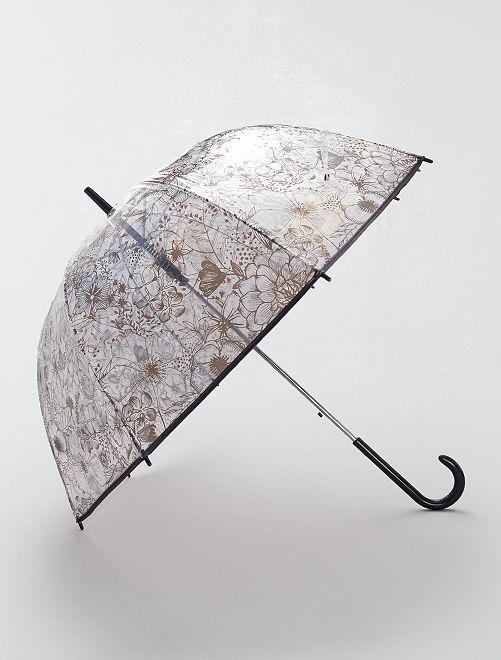 Parapluie transparent imprimé                                                     noir