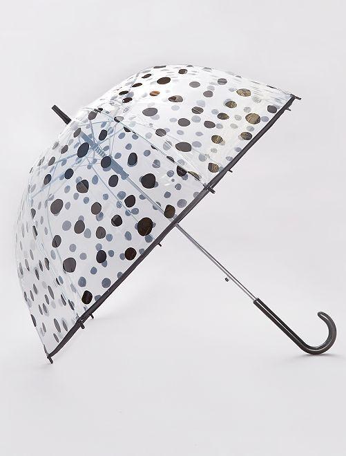 Parapluie transparent imprimé                                                                 noir/pois