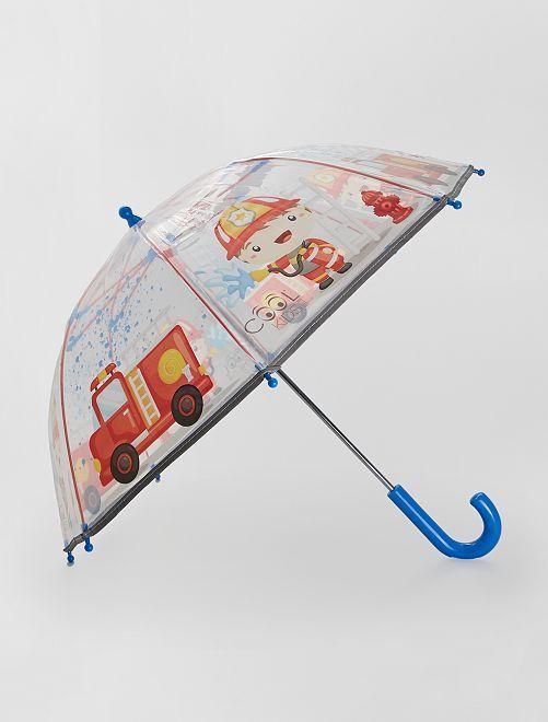 Parapluie transparent 'pompier'                             bleu