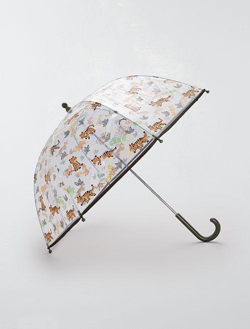 Parapluie transparent 'Tigre'                                                                             kaki