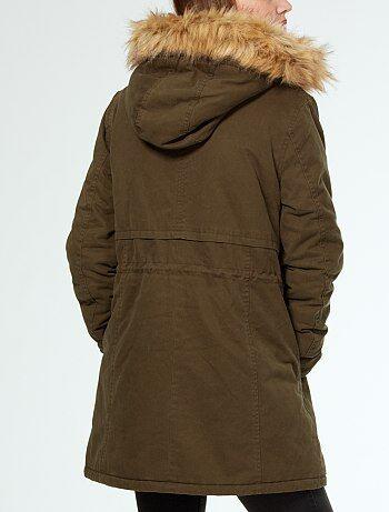 parka chaude capuche avec fourrure amovible femme kiabi 35 00. Black Bedroom Furniture Sets. Home Design Ideas