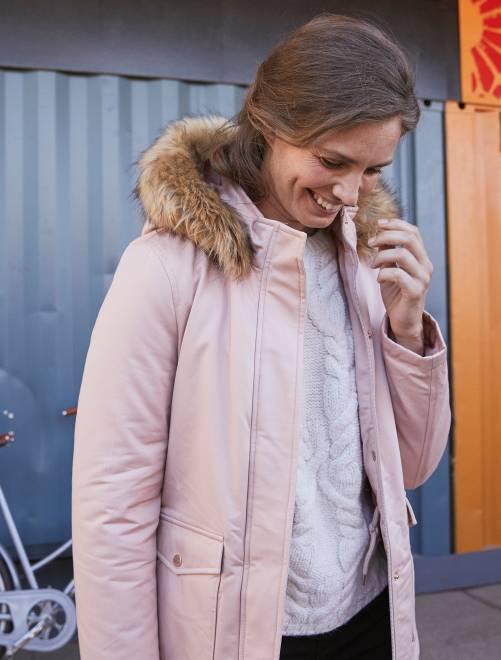Parka courte avec capuche et fausse fourrure                             rose clair Femme