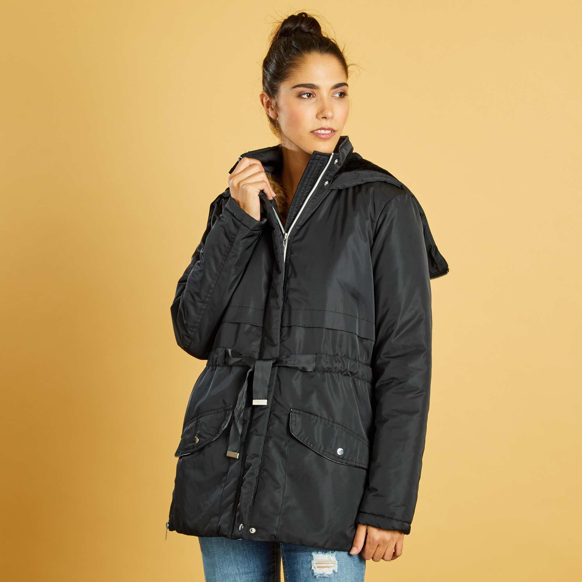 Couleur : noir, , ,, - Taille : M, S, ,,Une parka aux détails originaux, avec sa capuche zippée qui s'ouvre entièrement et sa