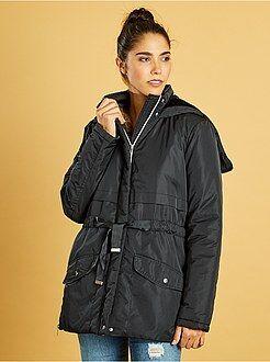 Manteau, bomber taille s - Parka déperlante à capuche zippée