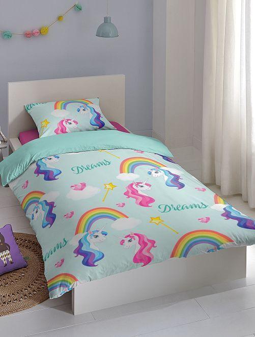 Parure 1 personne 'Licorne'                             bleu Linge de lit