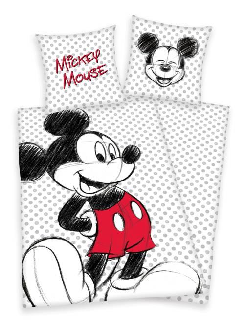 Parure 1 personne 'Mickey Mouse'                             blanc pois Linge de lit