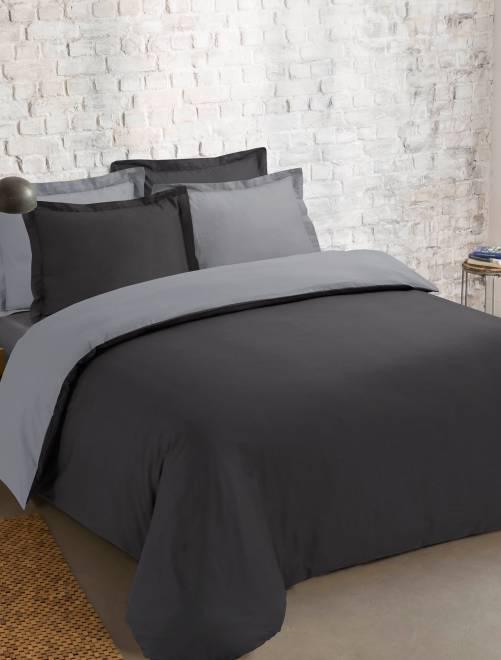parure bicolore r versible linge de lit gris fonc. Black Bedroom Furniture Sets. Home Design Ideas