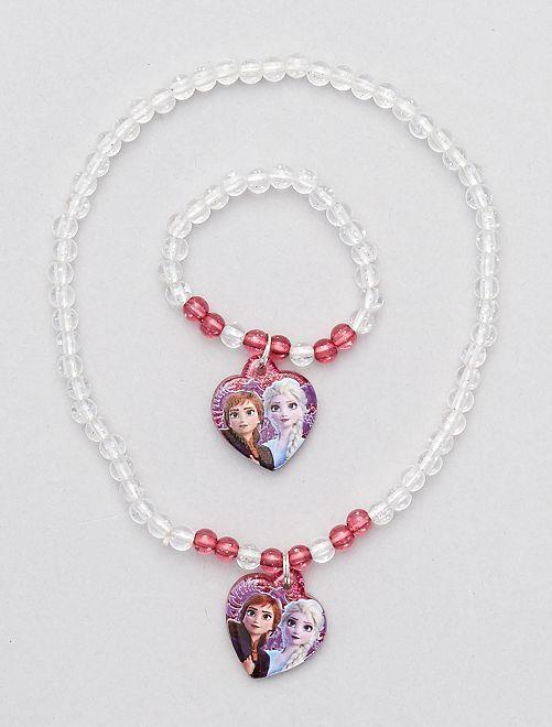Parure collier + bracelet la 'Reine des neiges'                             rose