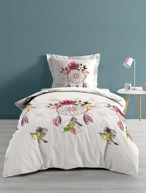 Parure de lit 1 ou 2 personnes 'attrape rêve'                             blanc/rose Linge de lit