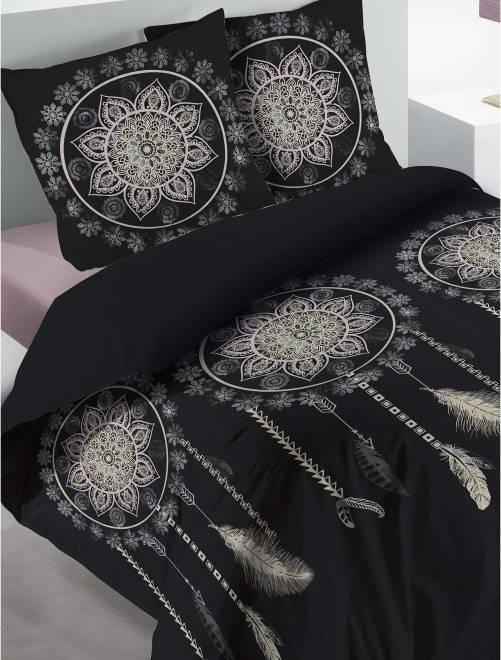 Parure de lit 1 ou 2 personnes 'attrape rêve'                             noir Linge de lit