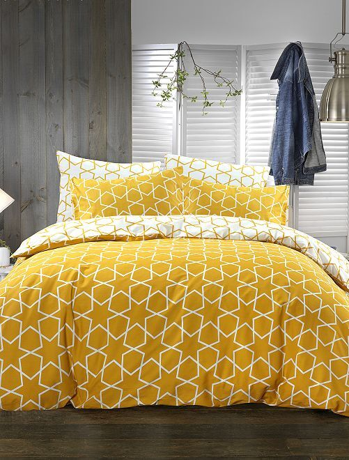 Parure de lit 1 ou 2 personnes motifs géométriques                     jaune Linge de lit