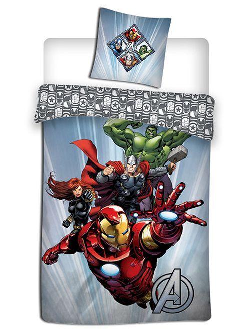 Parure de lit 1 personne 'Avengers'                             bleu/gris