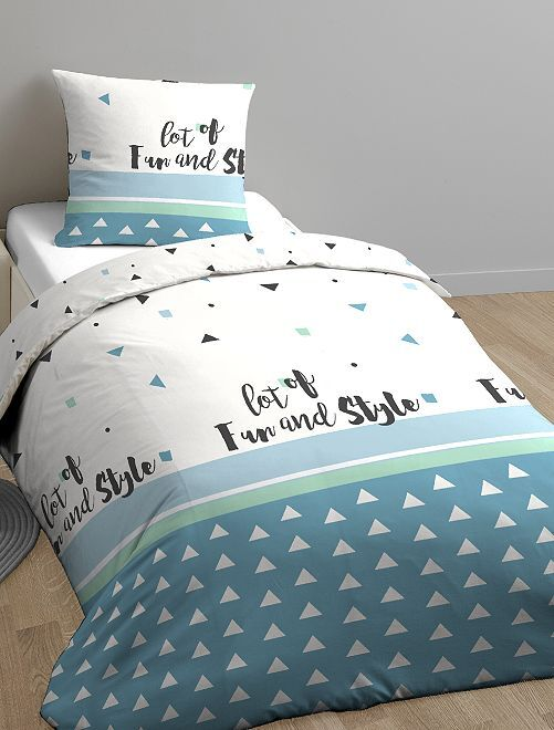 parure de lit 1 personne linge de lit blanc bleu kiabi. Black Bedroom Furniture Sets. Home Design Ideas