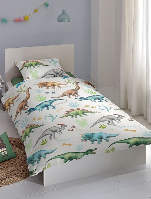 Parure de lit 1 personne 'dinosaure'                             blanc