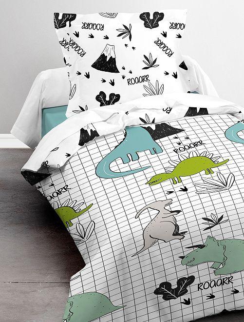 Parure de lit 1 personne 'dinosaures'                             blanc