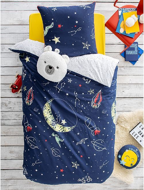 Parure de lit 1 personne 'Galaxie'                             bleu marine Linge de lit