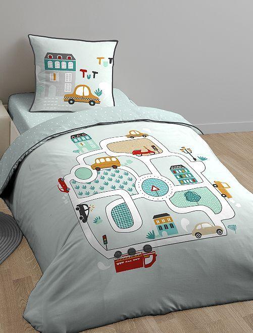Parure de lit 1 personne imprimé 'A toute allure'                             bleu Linge de lit