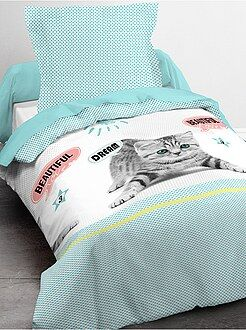 Linge de lit enfant - Parure de lit 1 personne imprimé chat