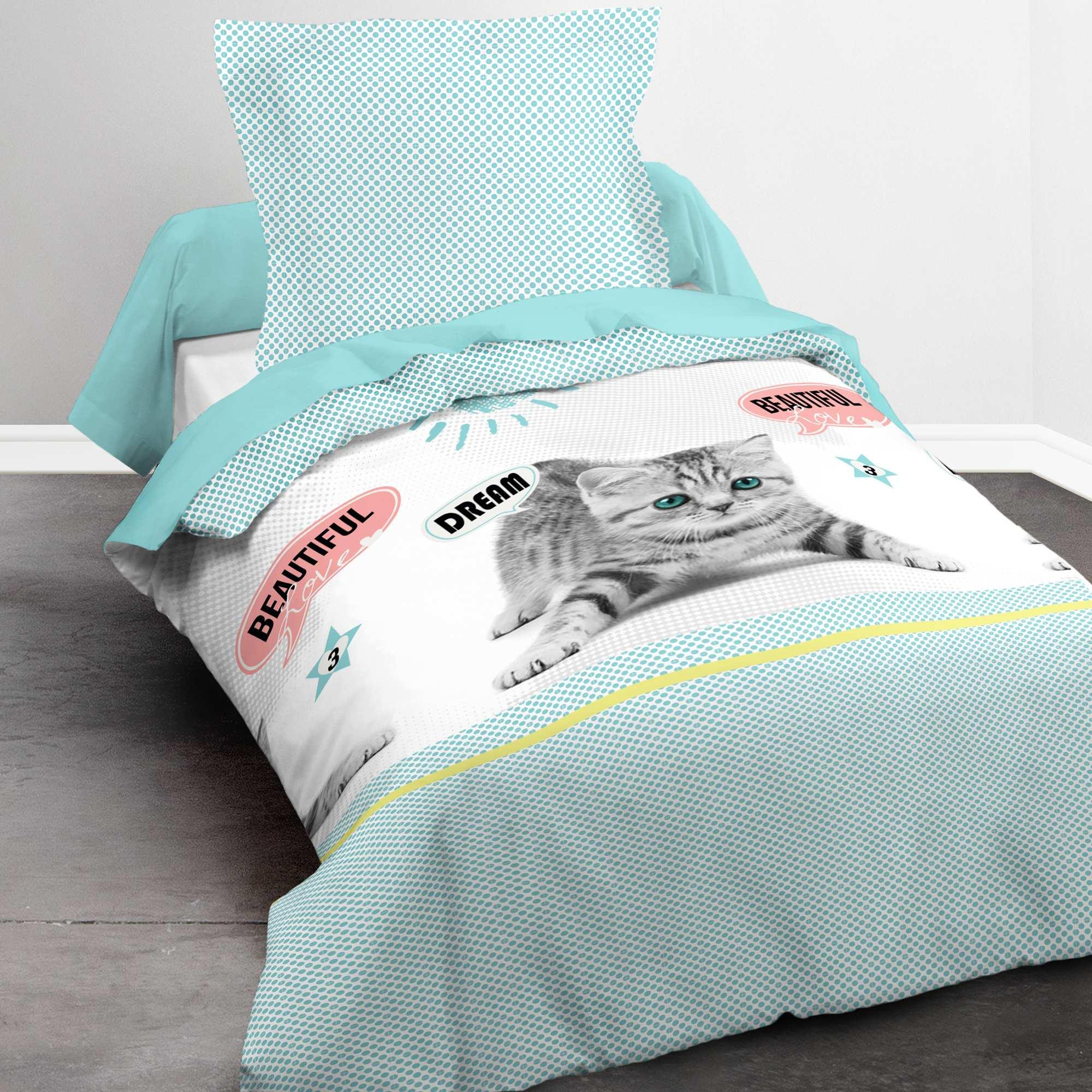 Couleur : bleu, , ,, - Taille : 140x200, , ,,Cette parure de lit imprimé chaton apportera une touche de douceur dans sa chambre. -