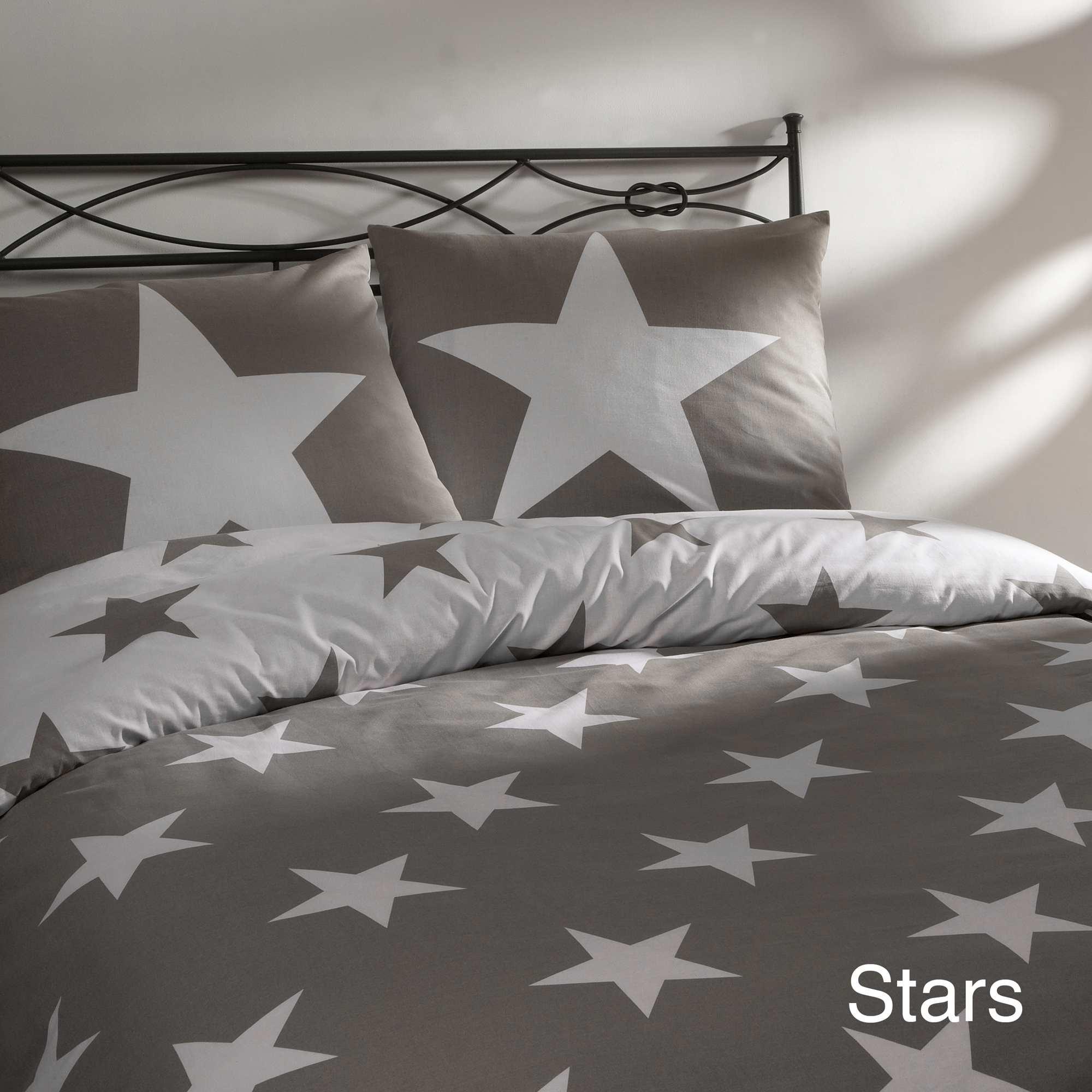 Couleur : gris foncé, , ,, - Taille : 140x200, , ,,Pour votre petite star ! - Parure de lit 1 personne motif étoiles - Comporte une