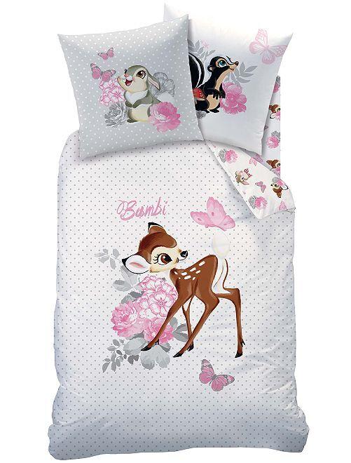 Parure de lit 1 personne imprimée 'Bambi'                             blanc