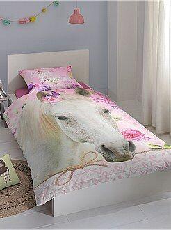 Parure de lit 1 personne imprimée 'Cheval'