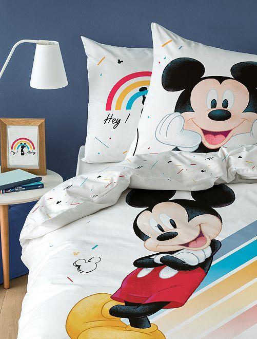 Parure de lit 1 personne imprimée 'Mickey'                             blanc