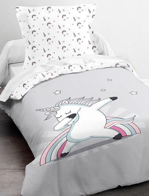 Parure de lit 1 personne 'Licorne'                             blanc/gris
