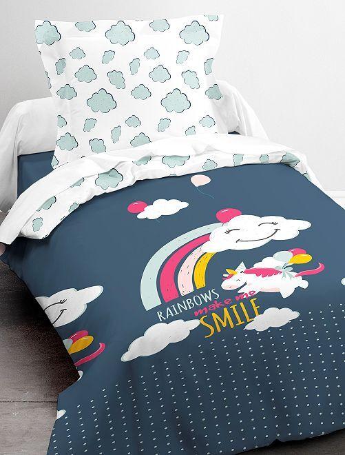 Parure de lit 1 personne 'licorne'                             bleu
