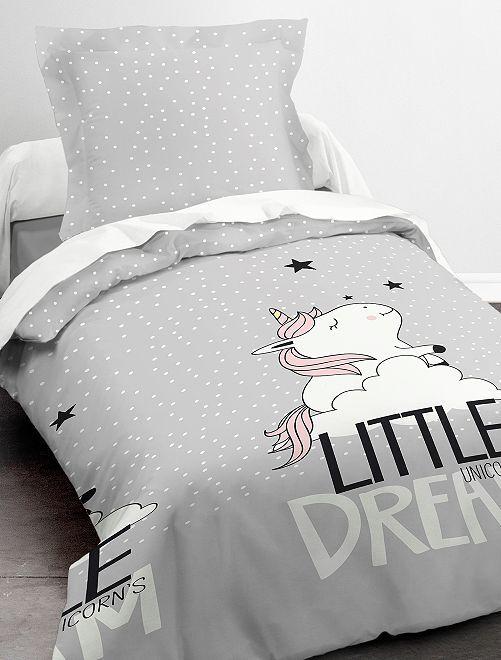 Parure de lit 1 personne 'Licorne'                             gris