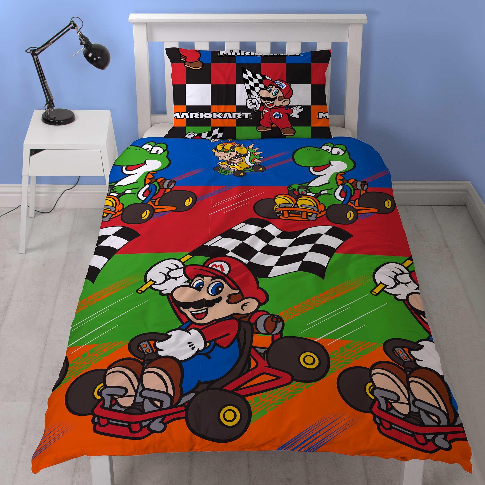 parure de lit 1 personne 39 mario kart 39 linge de lit bleu rouge kiabi 23 00. Black Bedroom Furniture Sets. Home Design Ideas