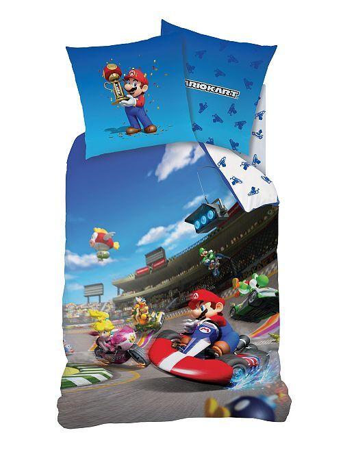 Parure de lit 1 personne 'Mariokart'                             bleu Linge de lit