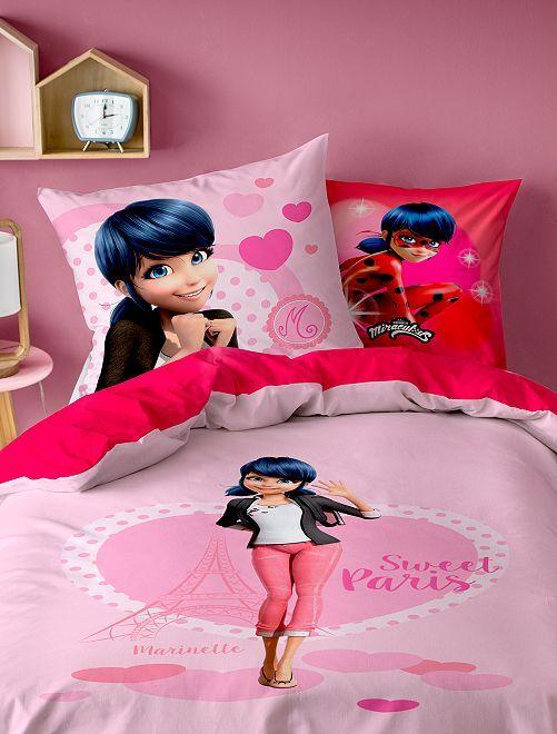 Parure de lit 1 personne 'Miraculous'                             rouge/rose