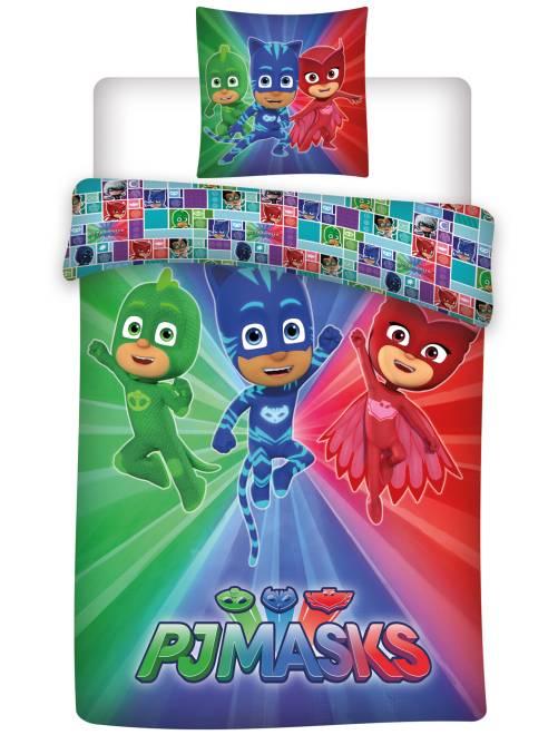Parure de lit 1 personne 'Pyjamasque'                             bleu/rouge/vert Linge de lit
