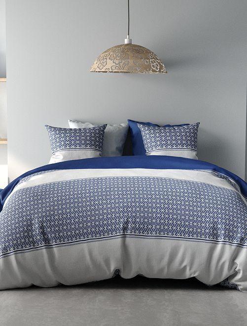 Parure de lit 1 personne réversible                             blanc/bleu