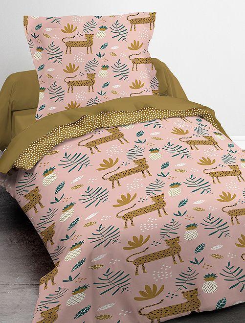 Parure de lit 1 personne                             rose/moutarde