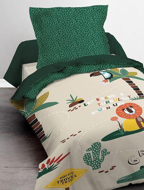Parure de lit 1 personne 'savane'                             vert/beige