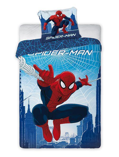 Parure de lit 1 personne 'Spider-Man'                             bleu/rouge