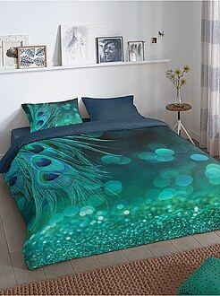 Linge de lit adulte - Parure de lit 2 personne coton 57 fils 'Paon' - Kiabi