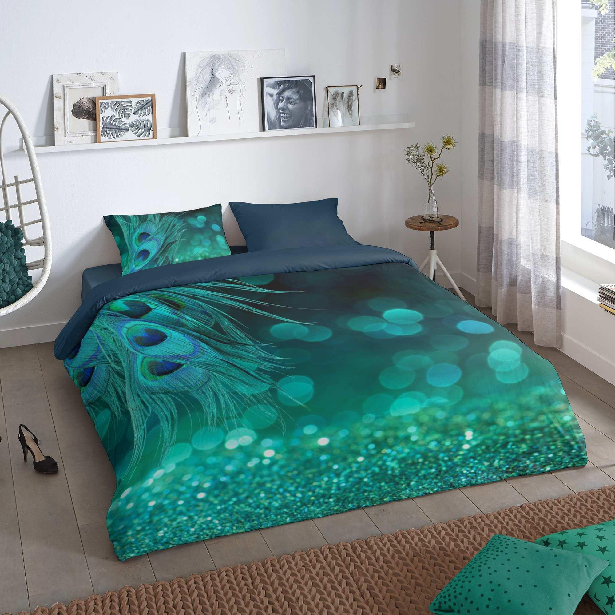 parure de lit 2 personne coton 57 fils 39 paon 39 linge de lit. Black Bedroom Furniture Sets. Home Design Ideas