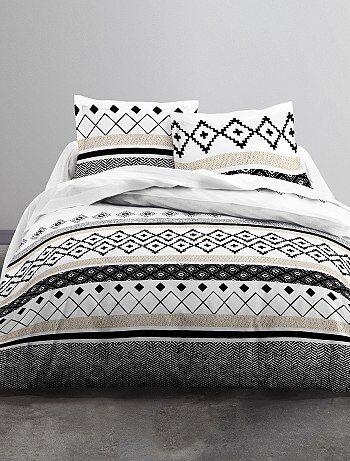 Parure de lit 2 personnes à motifs géométriques - Kiabi