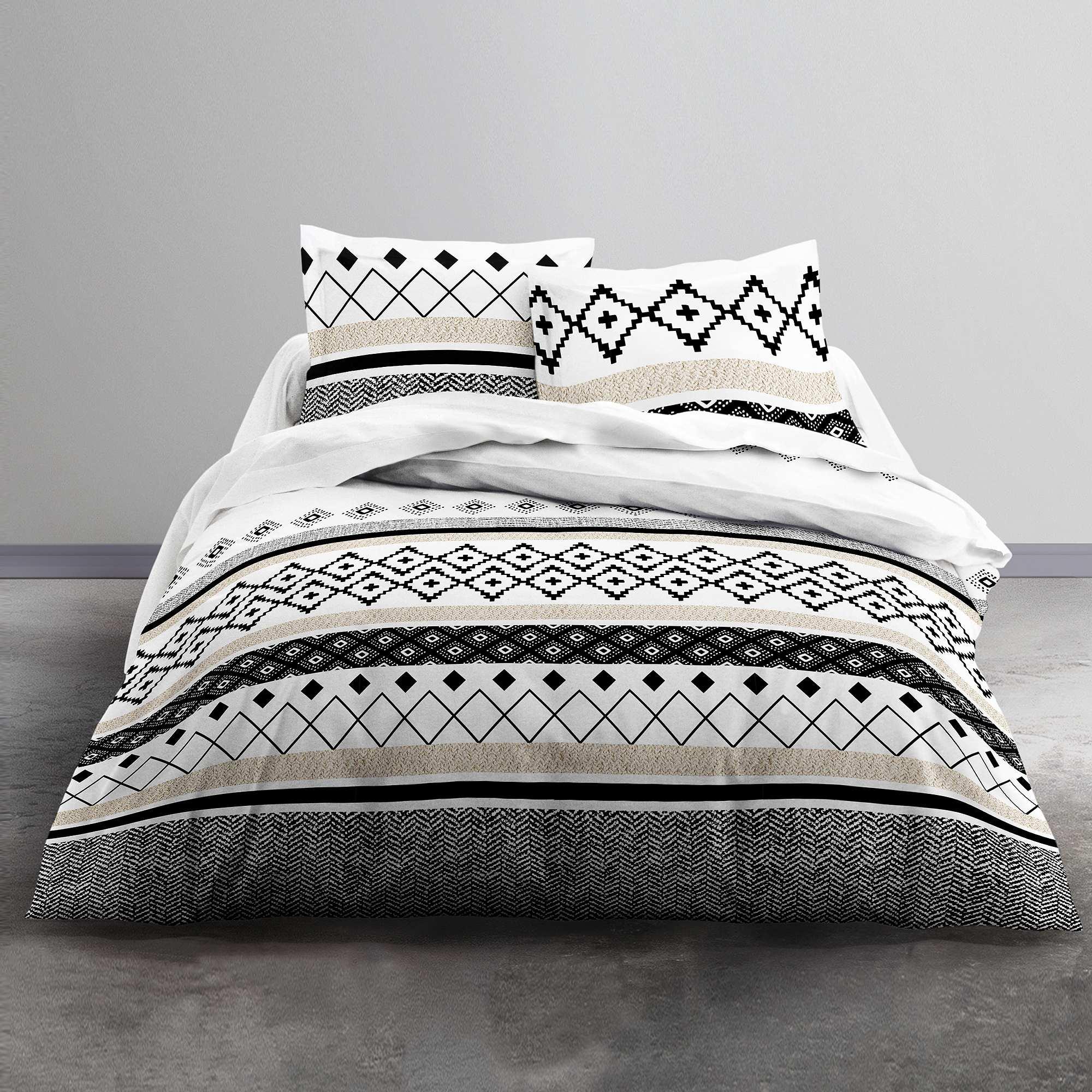 Couleur : blanc/noir, , ,, - Taille : 240x220, , ,,Des couleurs sobres, des motifs géométriques : un linge de lit très chic. - Parure de